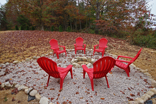 firepit, seating, red chairs