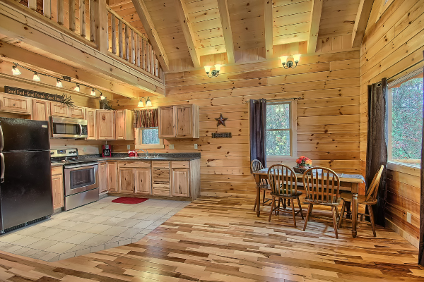 kitchen area in cabin