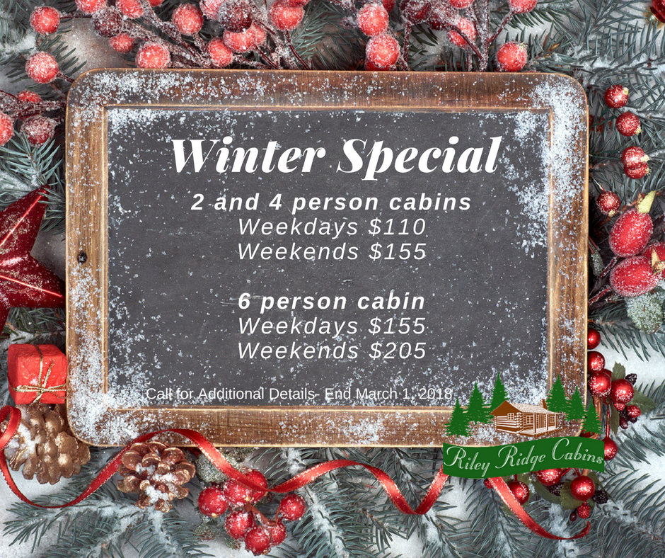 Riley Ridge Cabin - Winter Special - Hocking Hills Cabin Rental Deals