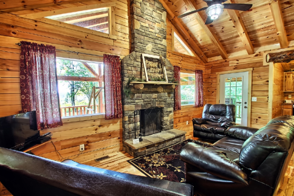 living room of cabin
